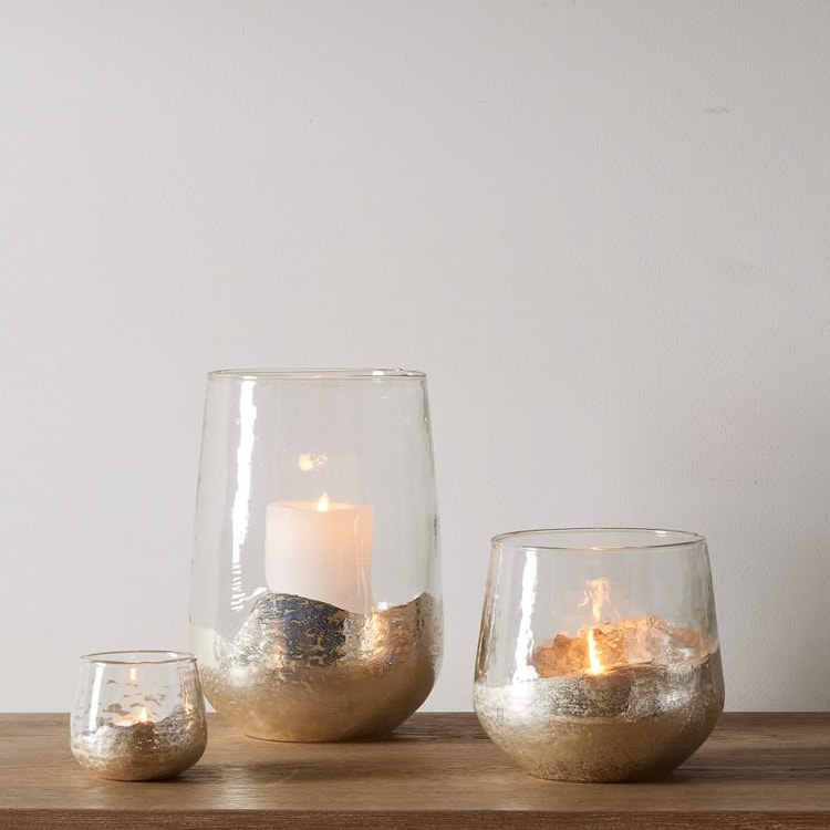 These gold mercury glass hurricanes are so pretty for a centerpiece this fall! #ABlissfulNest