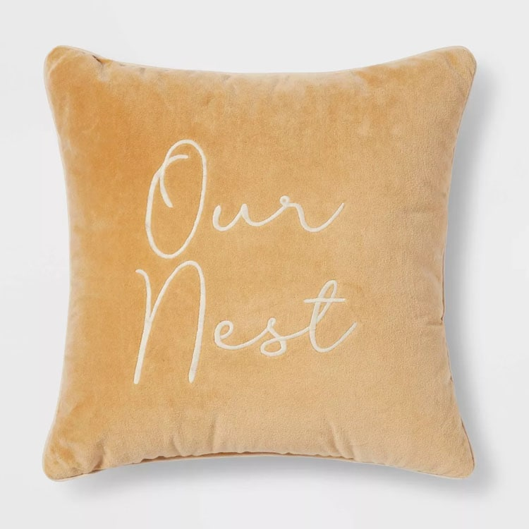 This velvet embroidered throw pillow is a must have for fall! #ABlissfulNest