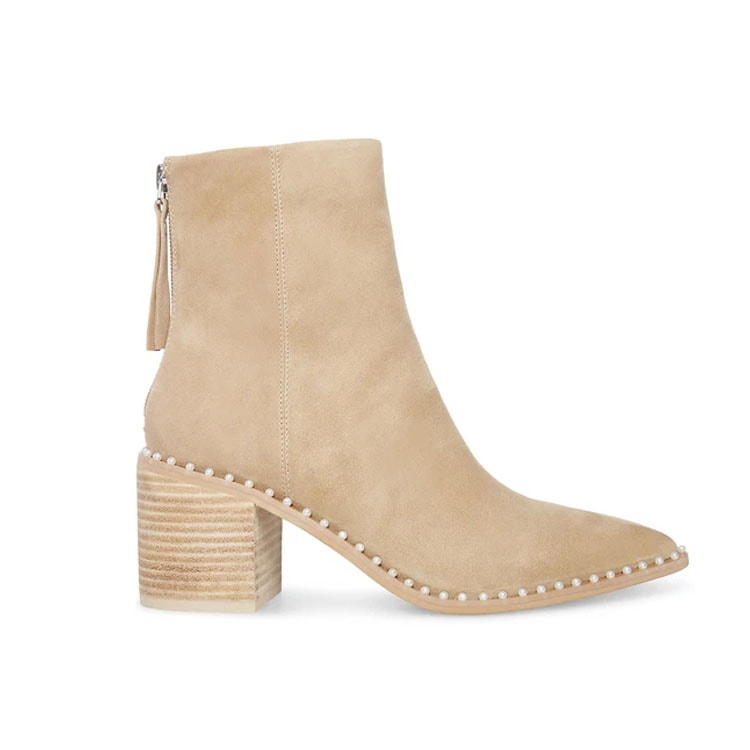 These pearl embellished suede booties are a fall must have! #ABlissfulNest