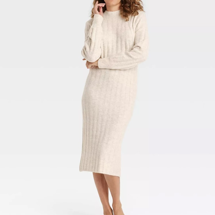 This ribbed knit sweater dress is a fall must have and it's under $30! #ABlissfulNest
