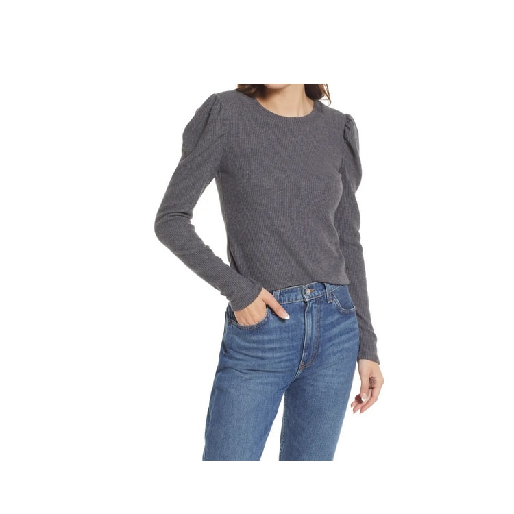 This ribbed puff sleeve top is such a great fall staple! #ABlissfulNest