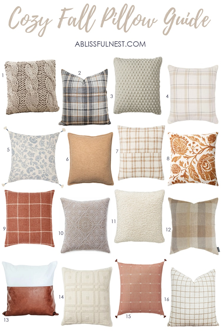 A collection of the BEST fall pillows to decorate with for the season. #ABlissfulNest #falldecor #fallideas