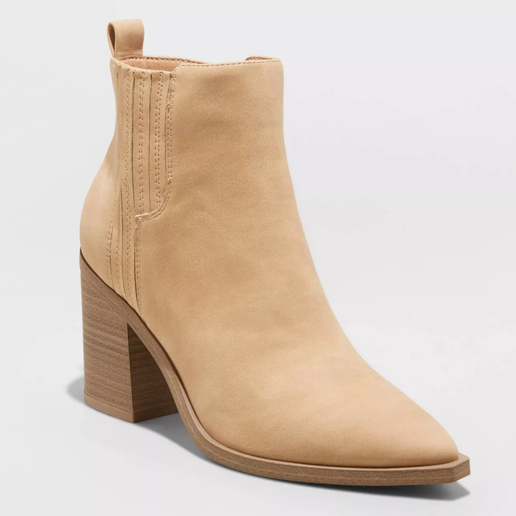 These tan heeled booties are affordable and so perfect for fall! #ABlissfulNest