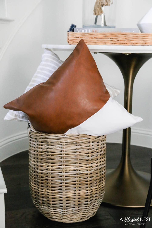 Faux leather pillow, fall decor, fall entryway. #ABlissfulNest #falldecor